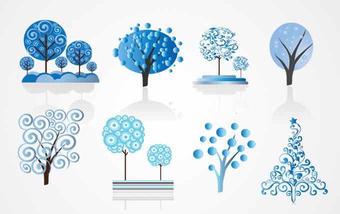 1-14 winter-trees-vector